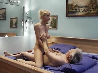 Polish This slut knows how to ride on grandpa