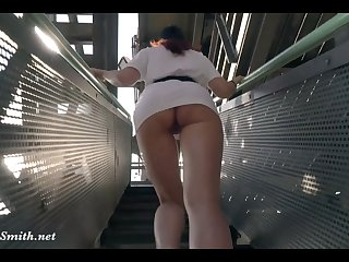 Jeny Smith is walking naked through an abandoned factory Jeny Smith