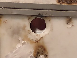 Me fucking a truck stop stall glory hole and cumming