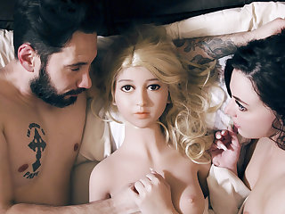 College Having Threesome With A Creeper And His Real Life Sex Doll
