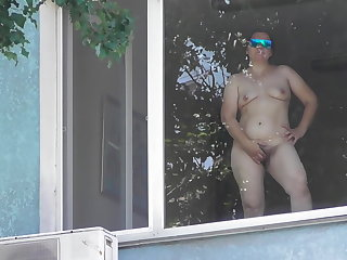 Rimjob Hairy mature flashing in window
