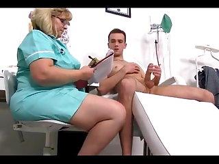 Mature Nurse Milking Guy