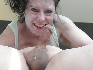 Hairy granny facefuck  cum facial swallow