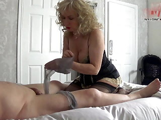 Foot Fetish nylon play on cock with foot worship