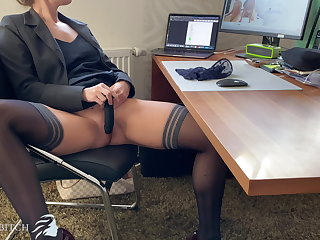 Big Butts business woman does dildo play in home office - business bit
