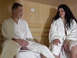 Egyptian Mom and son in the sauna