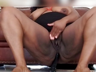 Jamaican Wife's asshole swallows 12 inch dildo