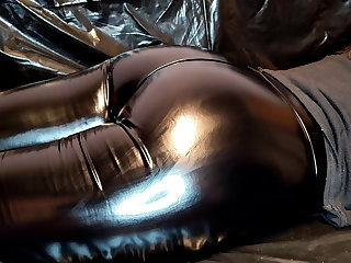 Spandex Massage and Sperm Smearing on Sexy Ass in Leather leggings